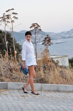 White Button Up + Leather Shorts + Slingback Flats + Sleek Hair = Outfit Envy