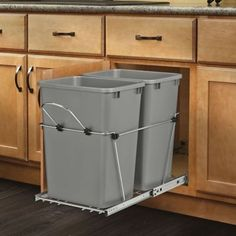 Kitchen Cabinet Rev-A-Shelf - S - Double 35 Qt. Pull-Out Black and Chrome Waste Container - This Double 35 Quart Bottom Mount Waste Pull-out comes with two 35 qt Black waste cans. Product Dimensions: W x D x H Pull Out Kitchen Cabinet, Kitchen Pantry, Kitchen Cabinets, Kitchen Island, Base Cabinets, Kitchen Countertops, Kitchen Dining, Ugly Kitchen, Kitchen Baskets