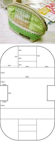 - tutoriel pochette.zip Une autre idées avec un petit patron... Il faut partir de 2 cercles pour former un oval: on coupe dans 2 tissus, le dessus et la doublure, on rassemble autour avec un biais, envers contre envers , on pose la fermeture éclair,...