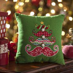 Mustache Tree Accent Pillow