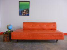 Dark Orange Mid Century Sofa