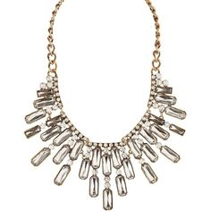 Charlotte Russe Gold Rhinestone Statement Necklace by Charlotte Russe... ($16) ❤ liked on Polyvore featuring jewelry, necklaces, gold, gold collar necklace, gold rectangle necklace, rhinestone necklace, chain necklaces and chain bib necklace