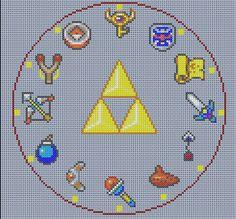 Grille point de croix réalisation horloge Zelda