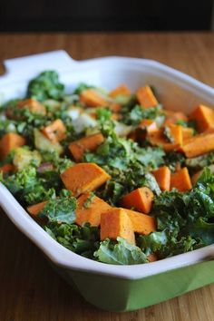 This very easy side dish recipe has only three ingredients: sweet potato, kale, and onion. Add some fat and salt and pepper and bake. Great for the holidays!