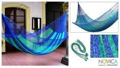 <li>Relax in comfort with this 'Magical Isle' hammock <li>This modern version replicates those created by the Maya people centuries ago <li>Hammock features the rich blue and green undertones Double Hammock, Hammock Swing, Hammocks, Rope Hammock, Modern Landscape Design, Modern Landscaping, Backpacking Hammock, Paver Walkway, Animal Rescue Site