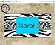 ON SALE Personalized cute license plate - Zebra print and Cheetah with light blue - monogram name car tag, front license plate name (1012)