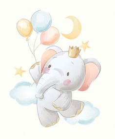 Cute cartoon elephant and balloons illustration Premium Vector Premium Vector Elephant Balloon, Baby Elephant, Elephant Nursery Art, Vintage Elephant, Baby Animal Drawings, Cute Drawings, Cartoon Elephant Drawing, Cute Elephant Cartoon, Bear Drawing