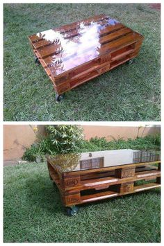Pallet Table Plans Wood pallet creations always appears perfect in term of beauty and also in durability. These days recycled wooden pallets have become the cheapest and easiest way to meet the wooden furniture needs with its beautiful crafts. Pallet Furniture Plans, Pallet Furniture Designs, Diy Furniture, Pallet Bench, Pallet Tables, Pallet Shelves, Pallet Art, Pallet Wood, Furniture Stores