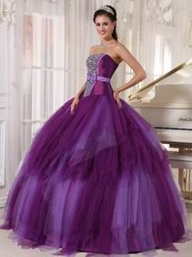 Strapless Beaded Fading Purple Skirt Prom Quinceanera Girl Dress