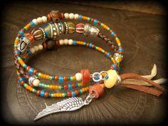 Clay, Hand bemalt, Dzi Achat, freien temperamentvoll, Tribal, Glas, Silber Perlen, Bolo Leder, Memory Wire Wrap Tribal Armband