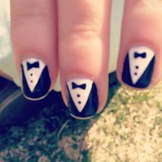 Suit up! These could look awesome with just straight-black nails and one tuxedo as an accent on one hand and one of the peter-pan collar dress nails on the other.