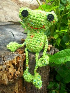 Freddy the Amigurumi Frog by WyandotteWears on Etsy, $5.00 green crochet embroidered mouth button eyes