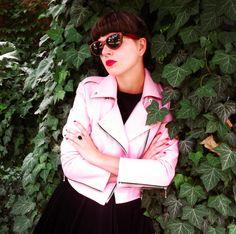 lazy eye leather pink biker jacket www.lazyeye.cz