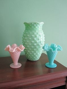 vintage, colored, milk glass vases...I would love to sprinkle in some colored hobnail milk glass into my collection