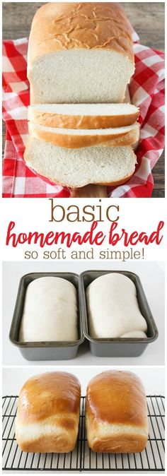 Basic Homemade Bread - the best, most fluffy loaf of homemade white bread! Tastes so much better than store bought! Basic Homemade Bread - the best, most fluffy loaf of homemade white bread! Tastes so much better than store bought! Homemade White Bread, Homemade Breads, Easy White Bread Recipe, Homemade Sandwich Bread, Easy Bread Loaf Recipe, Best Homemade Bread Recipe, Bread Dough Recipe, Recipe Tasty, Healthy Homemade Bread