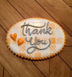 Thank you cookie, royal icing, baby shower cookie, stenciling on cookies, decorated cookies Fall Decorated Cookies, Fall Cookies, Sweet Cookies, Iced Cookies, Sweet Treats, Thanksgiving Cookies, Christmas Sugar Cookies, Thank You Cookies, Sugar Cookie Royal Icing