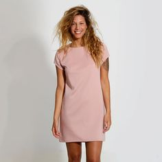 Powder Pink Dress Evening Party Dress Short Sleeve by ElianaStudio, $93.00..her hair is psycho but the dress would look cute for the marine corps ball