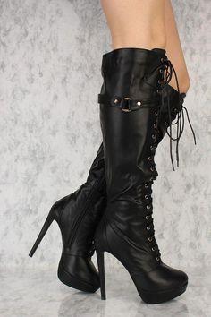 e06f600ba97 Black Front Lace Up Platform Pump Knee High Heel Boots Faux Leather   Platformhighheels  Highheelboots