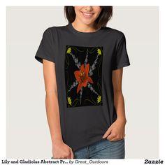 Lily and Gladiolas Abstract Print T-Shirts