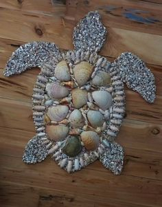 Gorgeous 3 foot Shell Encrusted Sea Turtle Wall Sculpture Beach House Art, Sea Life, Sea Creature, Shell Mosaic, Cockle Shells