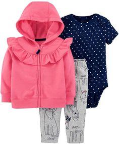5fa5f9fc13 Carter's Baby Girl Ruffled Hoodie, Polka-Dot Bodysuit & Dog Leggings Set  Fiúbaba Outfitek
