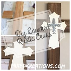 DIY Layered Rustic Cross made from cedar picket, pre-cut wood cross, a wire and ceramic cross.
