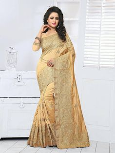 Sophisticated Beige and Gold Crepe Silk Festive Embroidered Saree Crepe Silk Sarees, Art Silk Sarees, Beige Art, Work Sarees, Online Collections, Girls Dresses, Formal Dresses, Party Wear Sarees, Saree Wedding