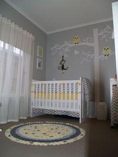 Gray And Yellow Nursery | great use of space - a yellow   grey chevron nursery ... | Nursery ...