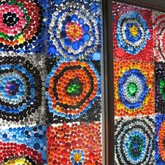 Bottle Cap Art Ideas | ... window is filled with a colourful display of painted bottle caps