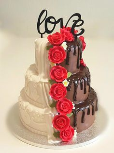 Two faced wedding cake by Sweet Mania - http://cakesdecor.com/cakes/294312-two-faced-wedding-cake