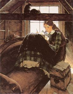 I pulled this card out to use here, but thought I should also share it here, too. It is a painting by Norman Rockwell from 1937 titled, The Most Beloved American Writer. I'm not entirely sure who he is referring to, but it reminds me so much of Louisa May...