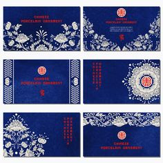 Set of six horizontal business cards. Beautiful flowers and blue watercolor background. Imitation of chinese porcelain painting. Place for your text - stock vector Chinese Ornament, Ornaments Image, Chinese Design, Watercolor Background, Logo Branding, Business Cards, How To Draw Hands, Royalty Free Stock Photos, Porcelain