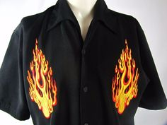 Dragonfly Button Down FLAMES S/S Lounge Motorcycle Shirt Mens Medium VGC #Dragonfly #ButtonFront
