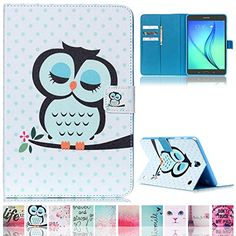 T350 Case,Galaxy Tab A 8.0 Case,Ucover(TM) Colorful Cartoon [Money/ Card Slot] Smart Wallet Case [Auto Sleep/Wake Feature] for Samsung Galaxy Tab A 8.0 SM-T350 (Owl)