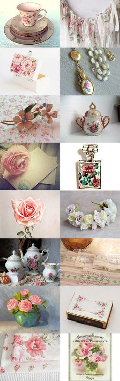 Shabby pink Roses by FrenchPaperMoon on Etsy--Pinned+with+TreasuryPin.com