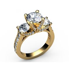Luxurious 3-stone cathedral interwined Diamond Engagement Ring in 18K Yellow gold (3.10 ct.) - Pavé set Diamond rings