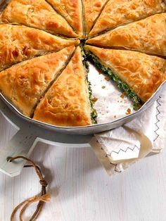 Spanakopita, a traditional greek pie with spinach and feta cheese.    Food styling:Mary  Deligiorgi