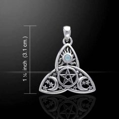 - Magick Moon Triquetra Triple Goddess Protection Pentacle Pendant. - Handcrafted in .925 Sterling Silver with a protective pentacle in the center, waxing & waning phases of the moon, and Sun above. -