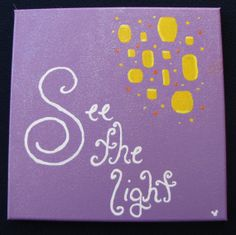 """Disney Tangled Rapunzel Inspired """"See the Light"""" Handpainted Canvas"""