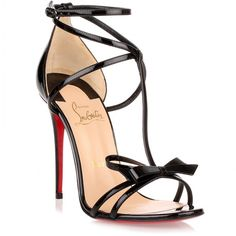 Christian Louboutin OFF!>> Black strappy Blakissima sandals with bow detail (Christian Louboutin) Black High Heel Sandals, High Heels Stilettos, Ankle Strap Heels, Stiletto Heels, Strap Sandals, Ankle Straps, Heeled Sandals, Black Strappy Heels, Ankle Boots