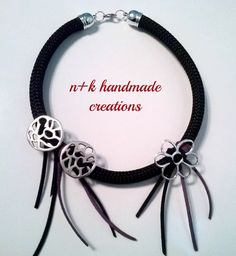 Handmade necklace made of black climbing rope by thenkcreations