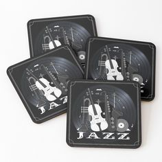 Jazz Lovers - Music On Vinyl by BlueMoonGear | Redbubble Vinyl Music, Vinyl Records, Beer Mugs, Coffee Mugs, Jazz Instruments, Classic Jazz, Colorful Backgrounds, I Shop, Coasters