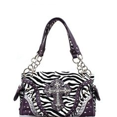 Concealed Carry Zebra Print Rhinestone Cross Handbag Purse Purple in Omaha, NE