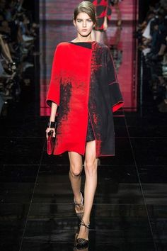 Black and Red Graphic Print Coat - Armani Privé | Fall 2014 Couture Collection | Style.com