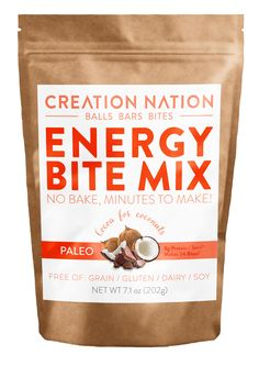 Paleo Energy Bite Mix for easy homemade energy bites & PaleoRoons! No-Bake, Minutes to Make. Gluten-Free, Grain-Free, Organic Coconut, Cocoa, & other Superfoods. Endless delicious recipes!  #HackYourSnack!