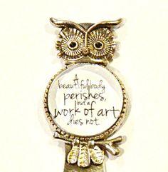 Leonardo da Vinci Quote - Owl Bookmark - $9 by HandcraftedWithJoy on Etsy