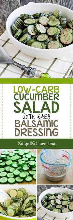 Low-Carb Cucumber Salad with Easy Balsamic Dressing is a fabulously easy cucumber salad I've been making for more than ten years! Grab some baby cucumbers; the rest of the ingredients are things you probably have on hand for this salad that's low-carb, Keto, low-glycemic, vegan, Paleo, Whole 30, and South Beach Diet friendly. [found on KalynsKitchen.com] #CucumberSalad #Cucumbers #EasyCucumberSalad #LowCarbCucumberSalad #CucumberSaladBalsamicDressing