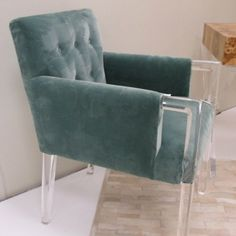 Blue Velvet Acrylic Arm Chair | Clayton Gray Home | Lucite upholstered accent chair for retro glam high-end design