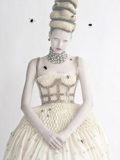 notordinaryfashion:  idreamofaworldofcouture:  'High & Mighty' Elza Luijendijk by Tim Walker for Vogue US March 2013  I love the Bees