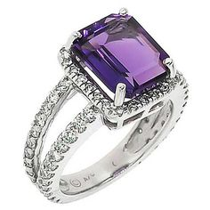 5.60 Cttw F SI Round Diamond and Emerald Cut Amethyst Cocktail Ring in 14K White Gold by GetDiamondsDirect on Etsy